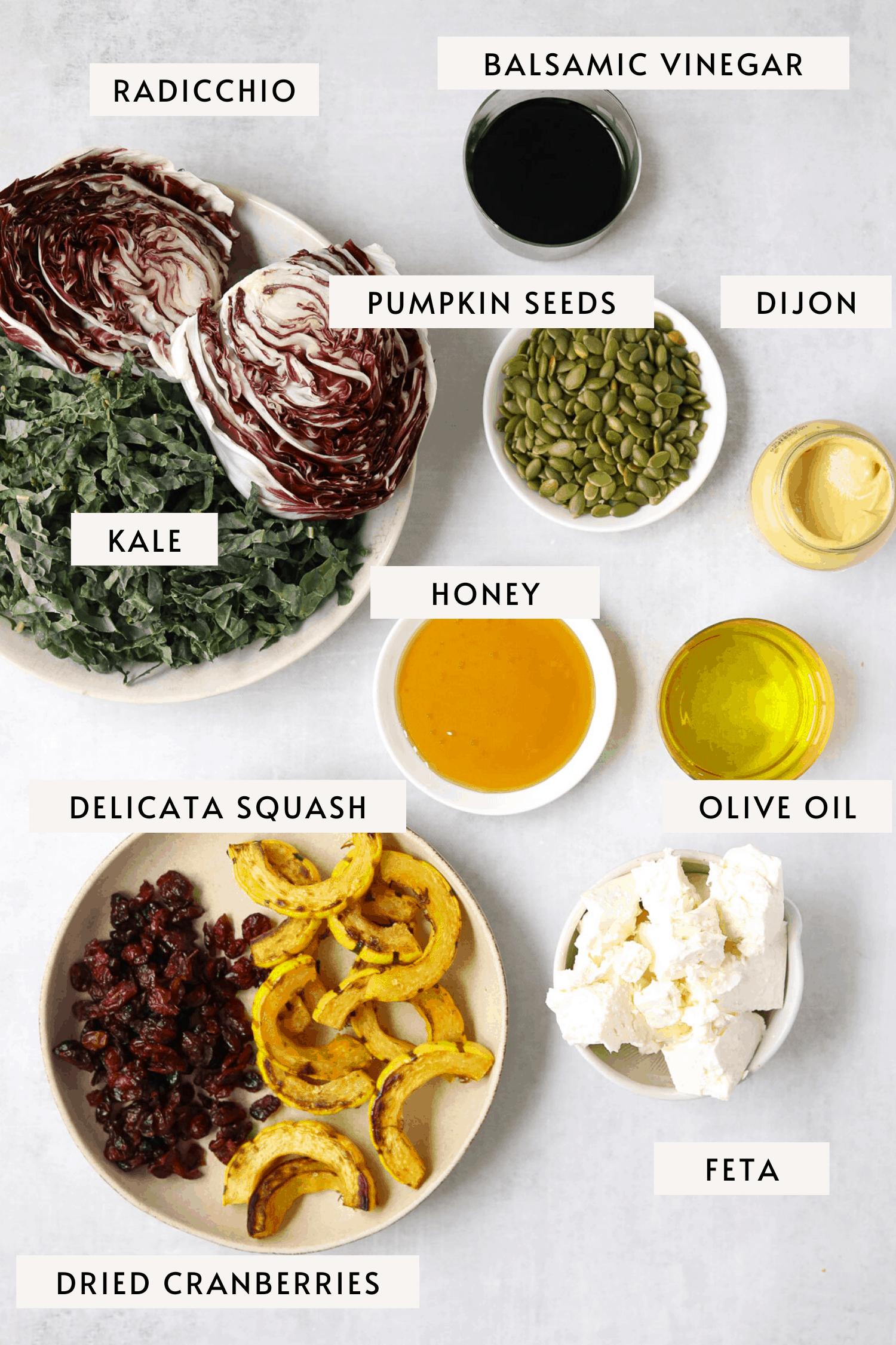 individual recipe ingredients in bowls: feta cheese, roasted squash, chopped kale, pumpkin seeds, balsamic vinegar