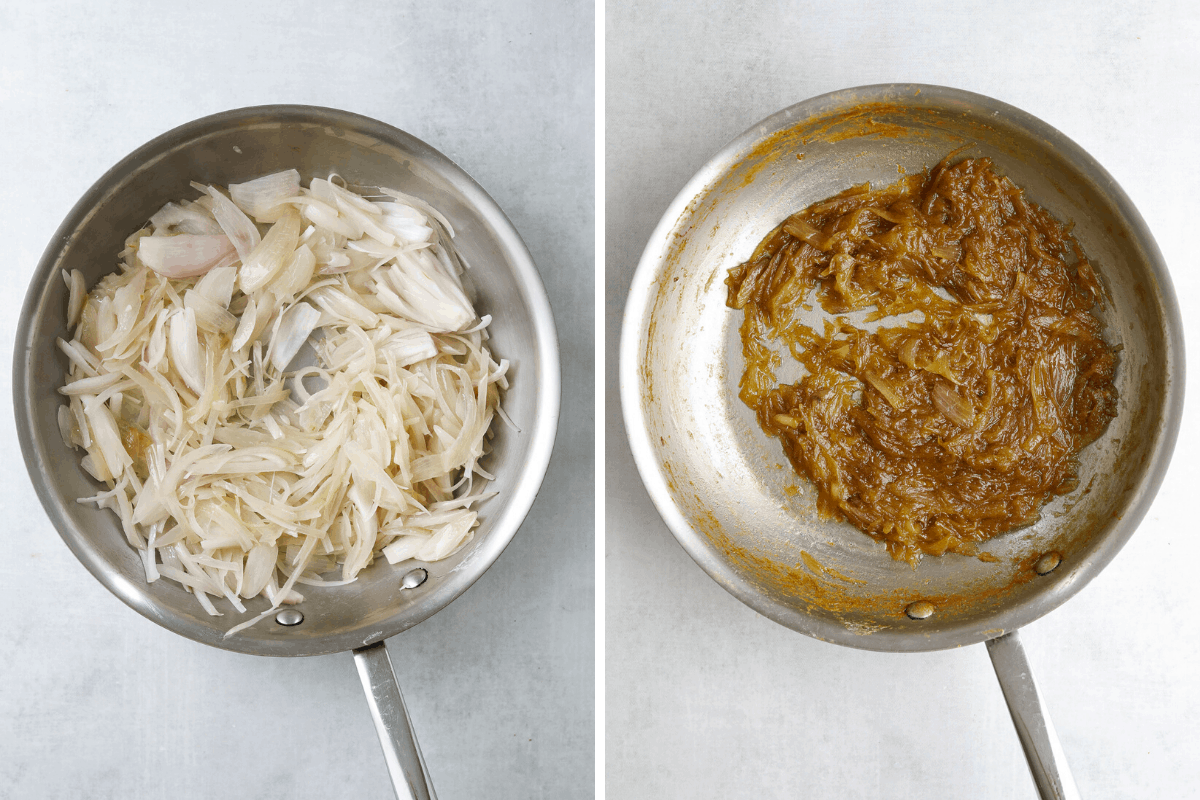 two stainless steel saute pans one with thinly sliced raw shallot and one with caramelized shallot
