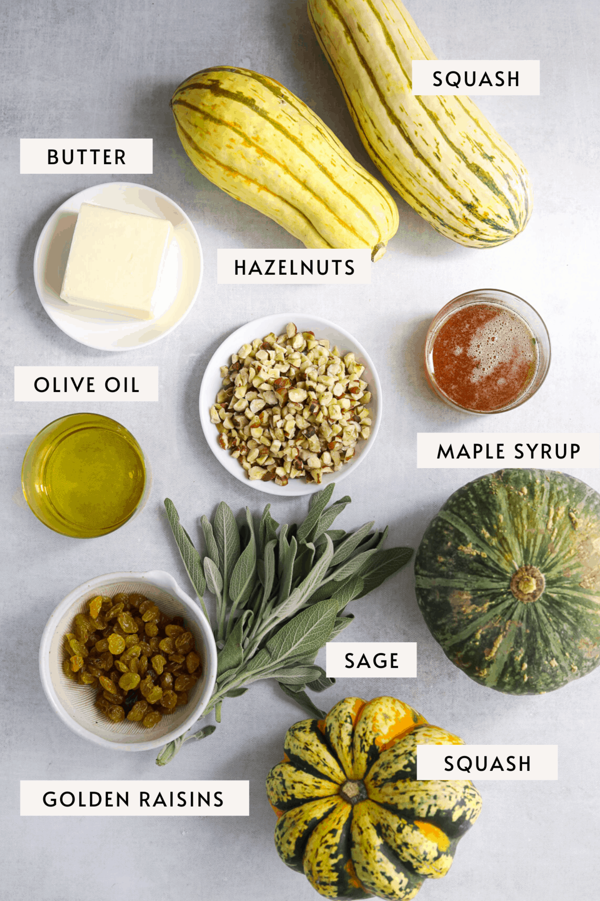 recipe mise en place, delicata squash, maple syrup, olive oil, butter, hazelnuts and sage