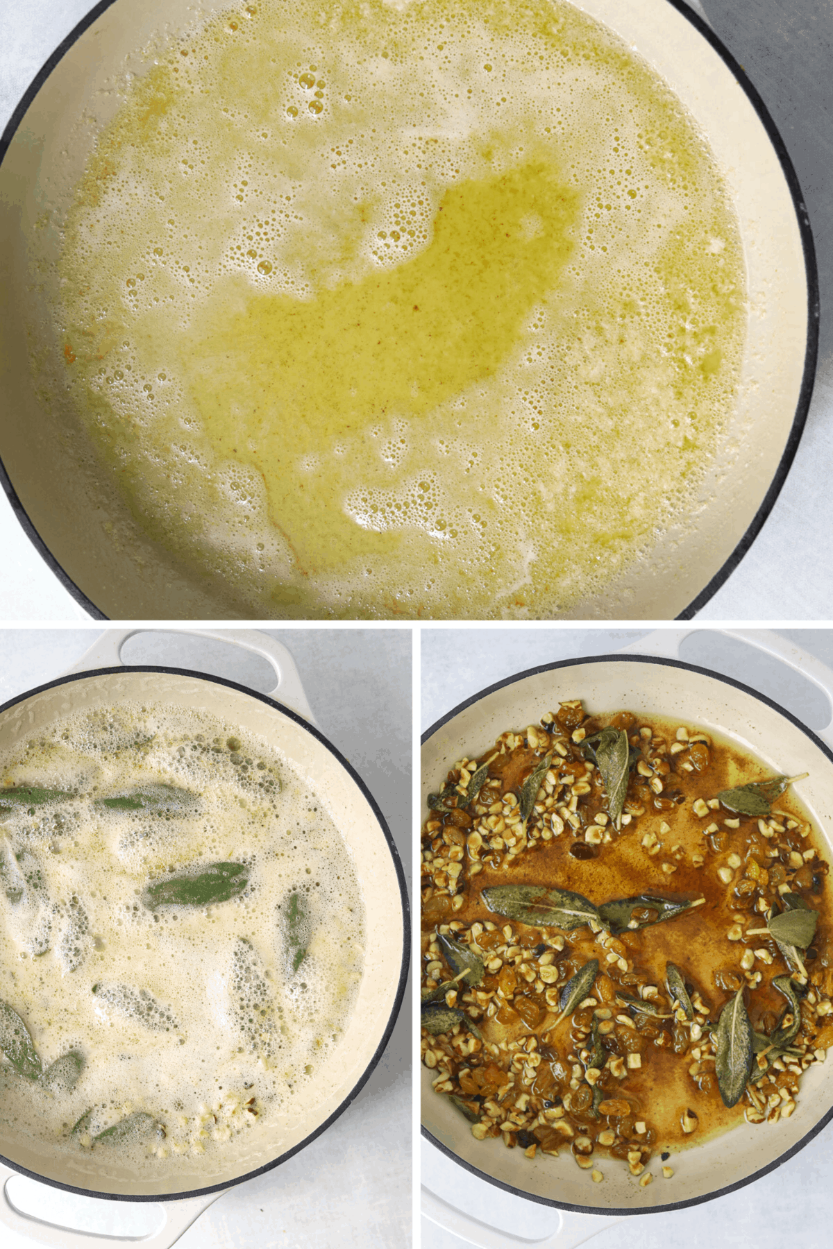 brown butter, sage and hazelnuts cooking in a beige cast iron enamel pot..