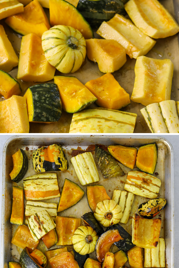 pieces of winter squash on a parchment-lined baking tray