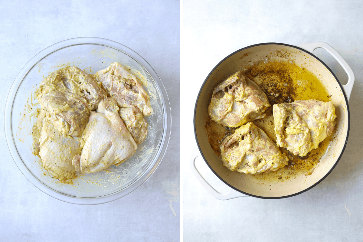 a bowl of chicken thighs marinating with mustard and olive oil, and chicken thighs cooking in an enamel pan