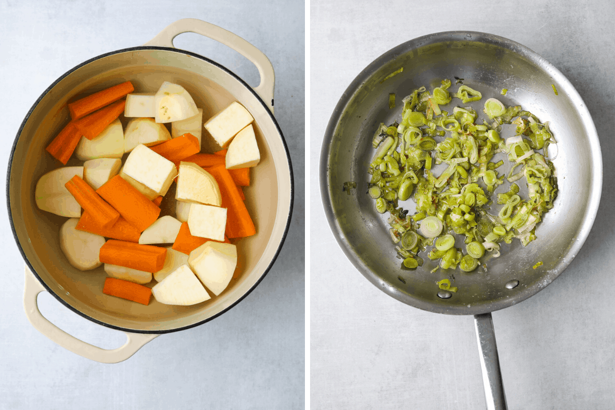a pot of root vegetables cooking in water and a skillet of caramelized leeks