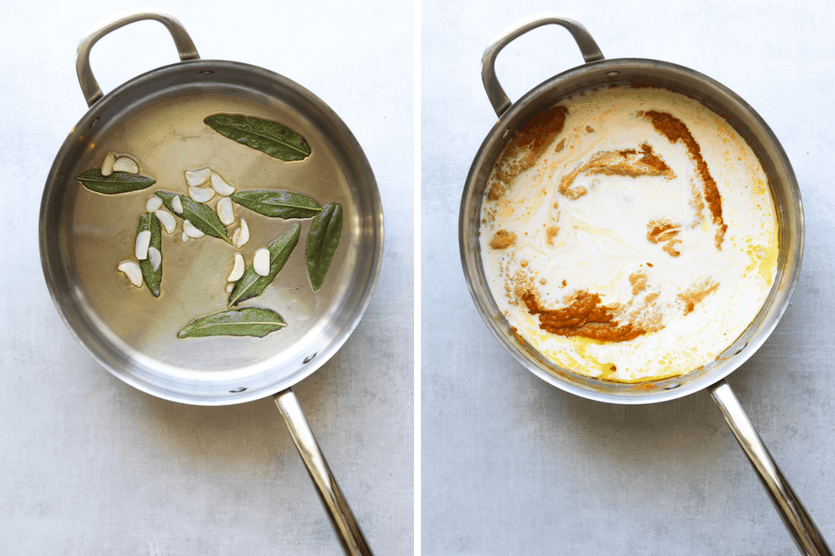 a saute pan with fried sage leaves and a saute pan with pumpkin puree and cream