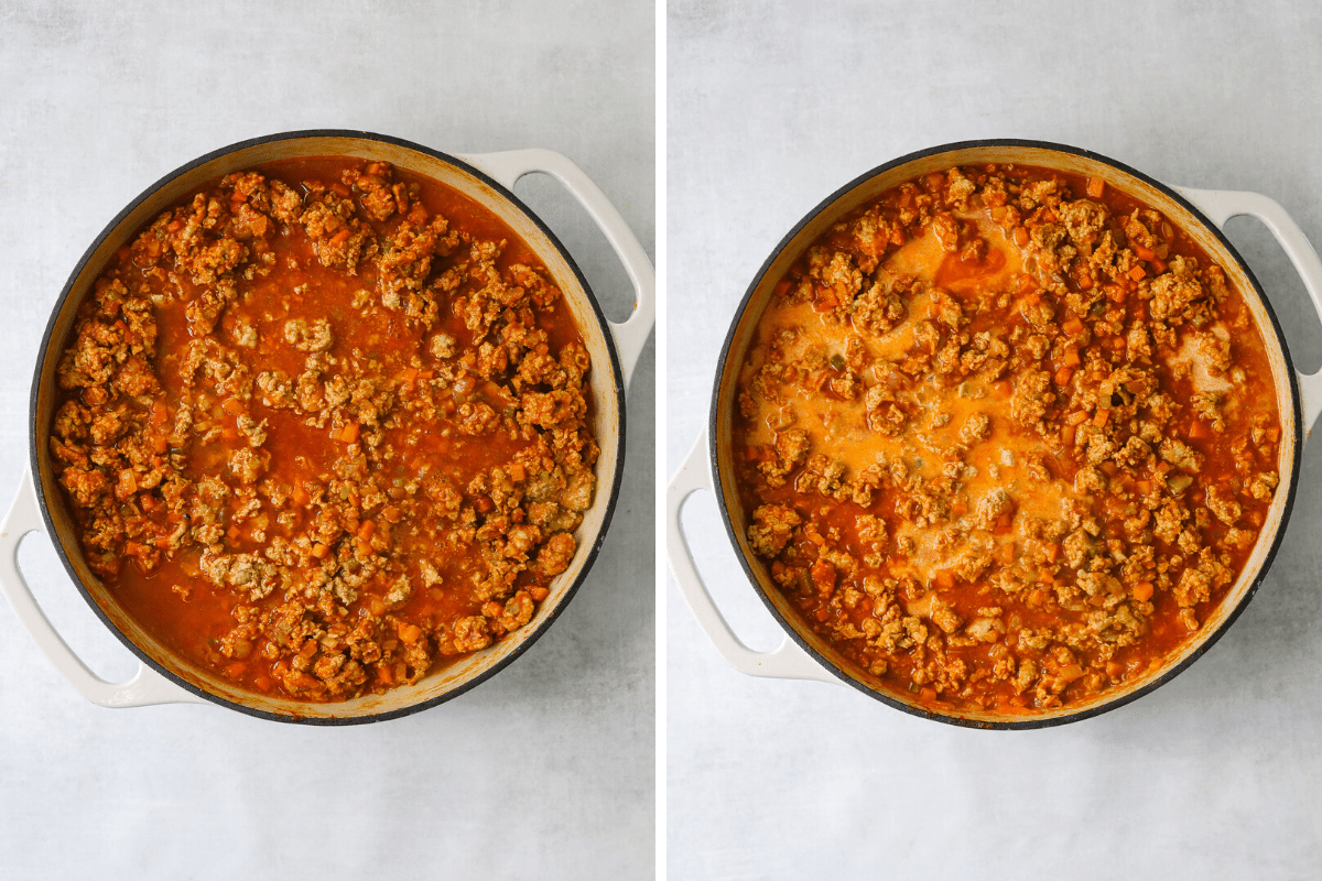 turkey bolognese cooking in a cast iron enamel pan with tomato sauce