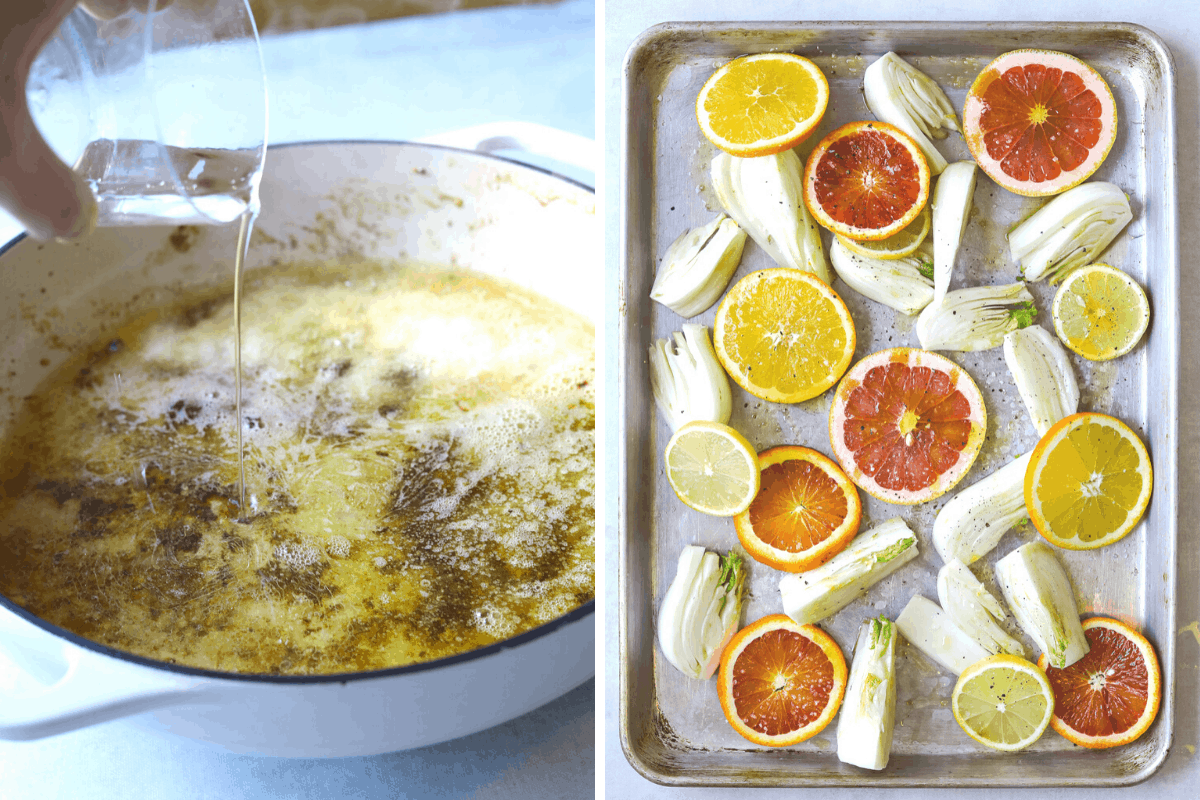 white wine being poured into a pan to deglaze and a sheet pan with sliced citrus and fennel