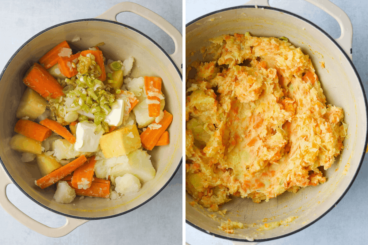 a pot of cooked root vegetables with butter and a pot of mashed root vegetables