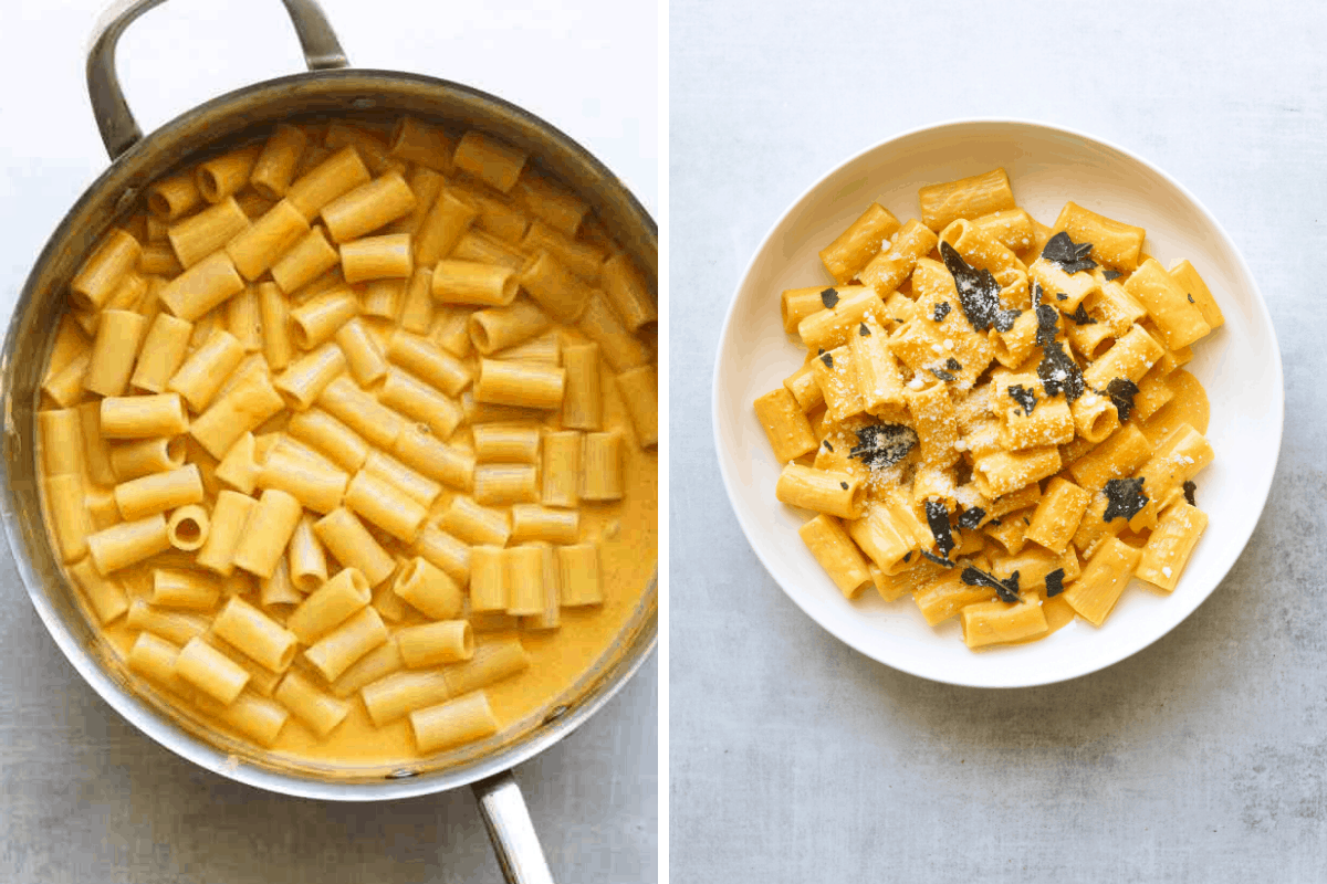 a saute pan with pumpkin rigatoni and a white bowl with pumpkin rigatoni topped with fried sage