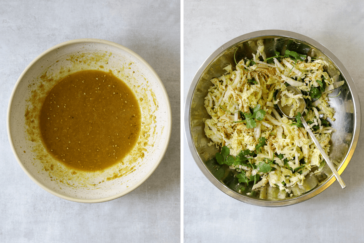 a bowl of miso ginger salad dressing and a mixing bowl of salad with a large spoon