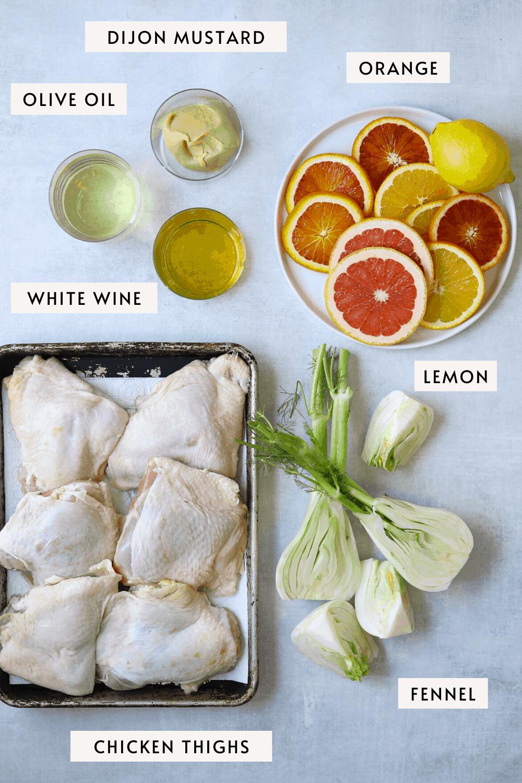 recipe ingredients on a blue background: fennel, sliced citrus, chicken thighs, white wine, dijon mustard etc