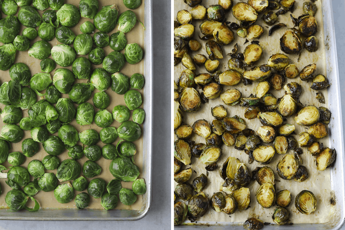 one baking tray with raw Brussel sprouts one baking tray with roasted Brussel sprouts