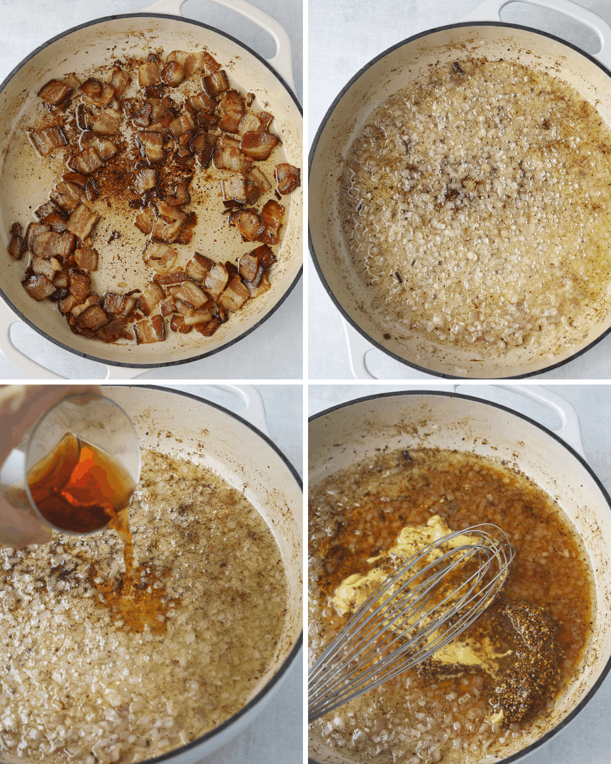 four photos of bacon vinaigrette being made in a cream colored cast iron enamel pot
