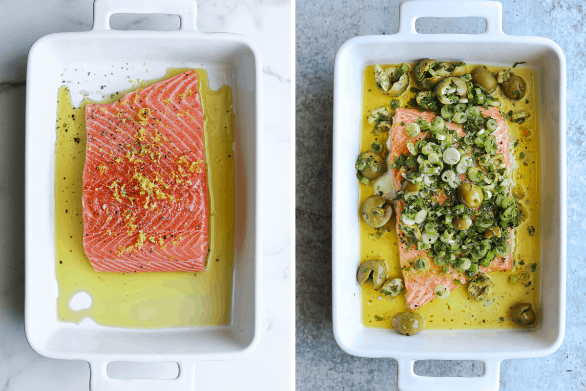 two white baking dishes of salmon side by side