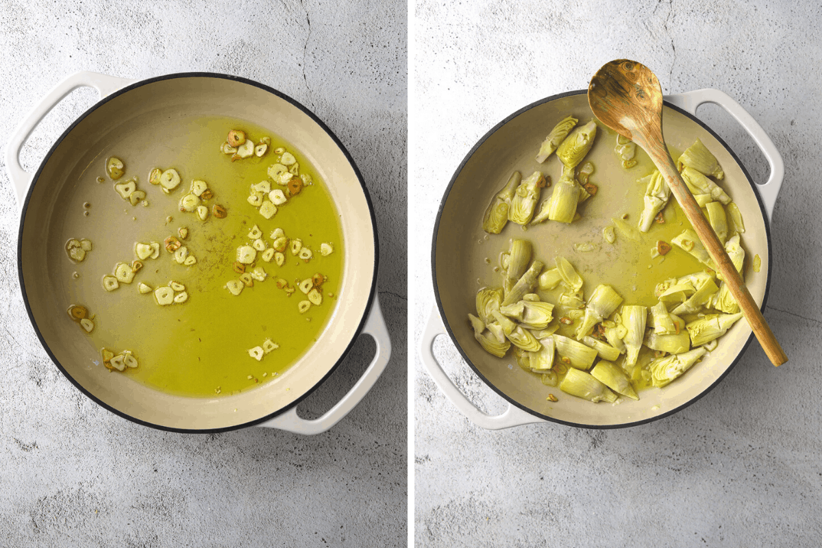 recipe step on and two, a pot with garlic and olive oil and another pot with garlic, olive oil and artichokes