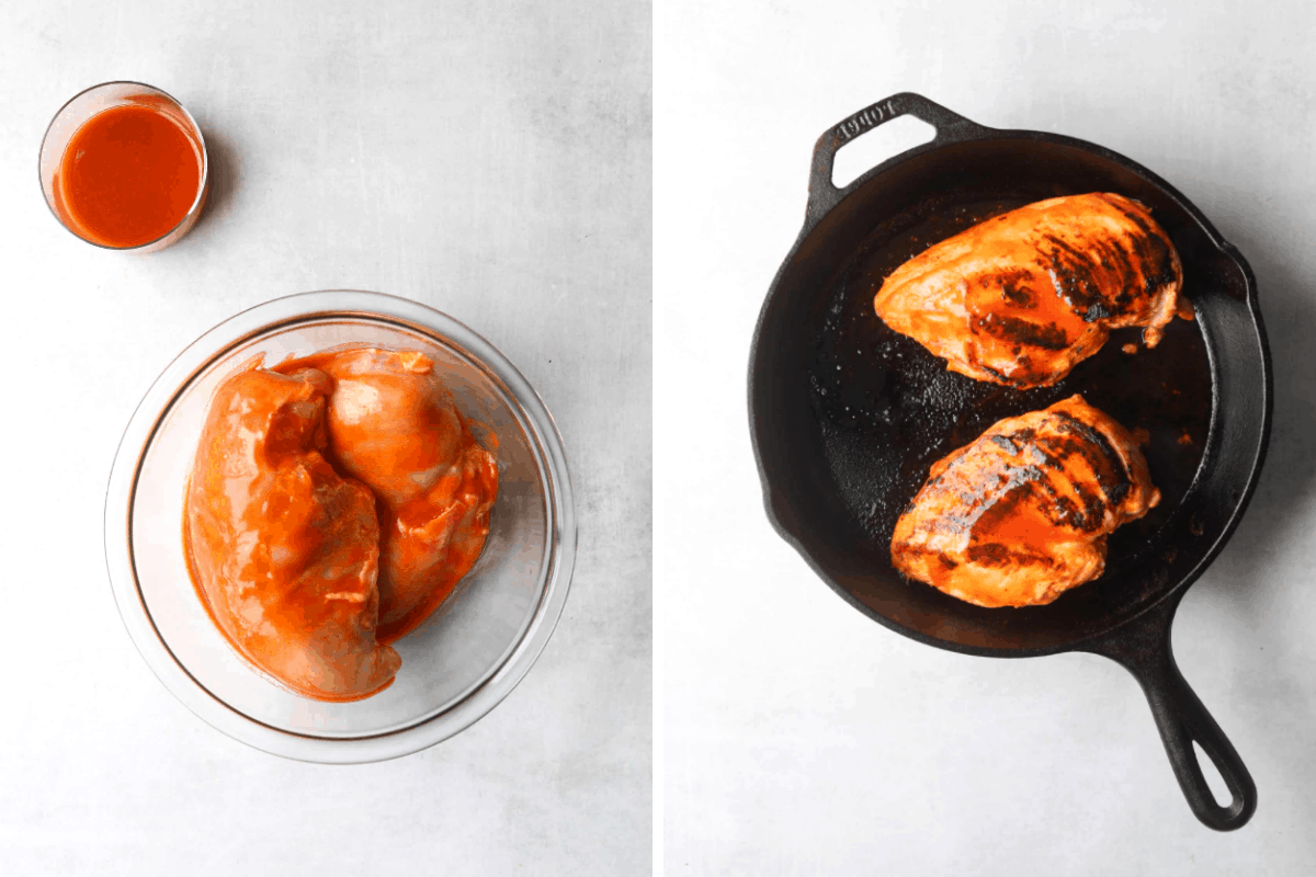 a bowl of chicken breast marinating in buffalo sauce and a cast iron pan with chicken cooking inside
