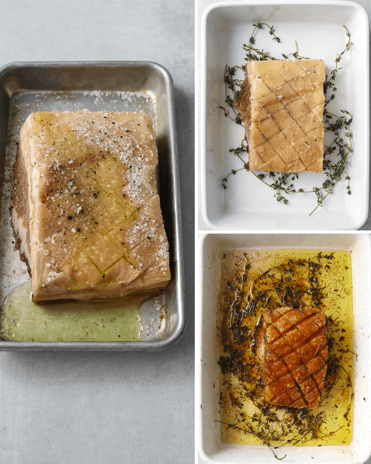 step by step photos of a slab of slow-roasted crispy pork belly on a bed of fresh thyme