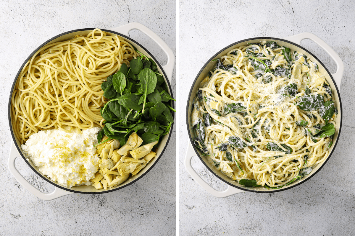 one pot with cooked pasta, spinach, ricotta cheese and artichokes and another pot of the same ingredients stirred together.