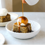 warm Date cake with bourbon caramel & vanilla ice cream