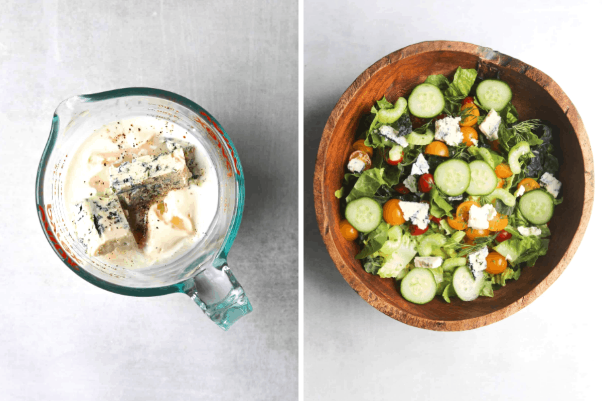 a glass mixing bowl of buttermilk blue cheese dressing ingredients and a wooden salad bowl with lettuce, cucumbers, tomatoes and crumbled blue cheese