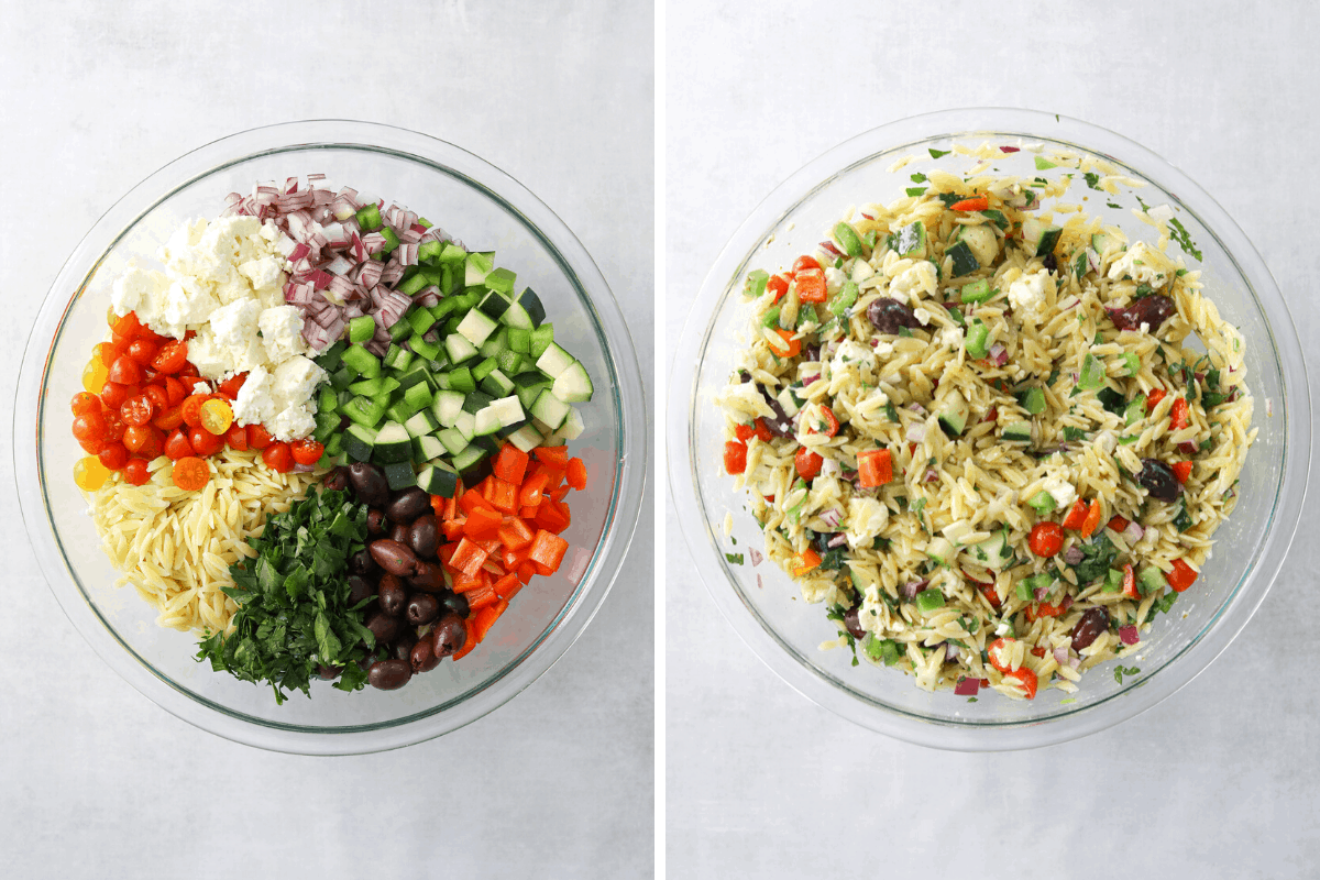 a large glass mixing bowl with orzo greek salad ingredients and a large mixing bowl of orzo greek salad tossed together