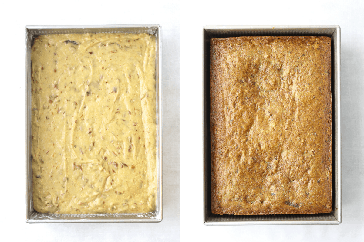 date cake batter in a cake pan and a baked date cake in a baking pan