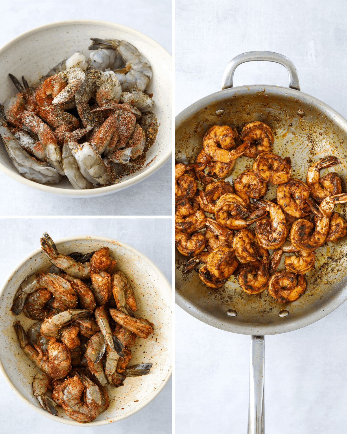 a collage of blackened shrimp recipe steps, a bowl of seasoned shrimp and a saute pan of shrimp cooking