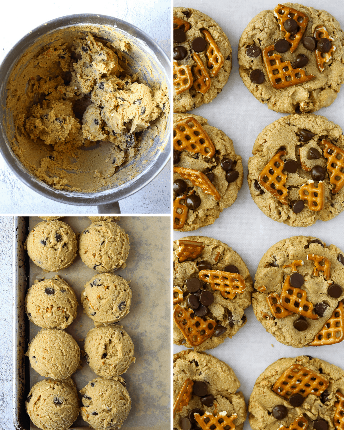 left, peanut butter chocolate chip cookie batter in a mixing bowl, right, two rows of baked cookies with chocolate and pretzels
