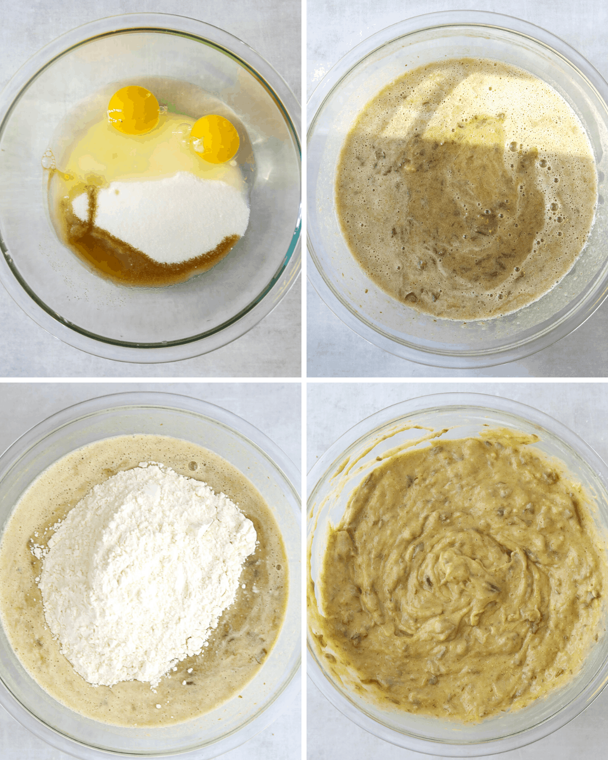 four photos step by step of date cake batter being made in a large glass mixing bowl