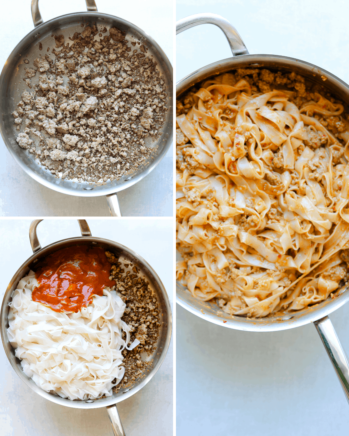a collage of recipe steps: pork browning in a pan, pork noodles ans sauce in a pan and pork and peanut noodles in a pan.
