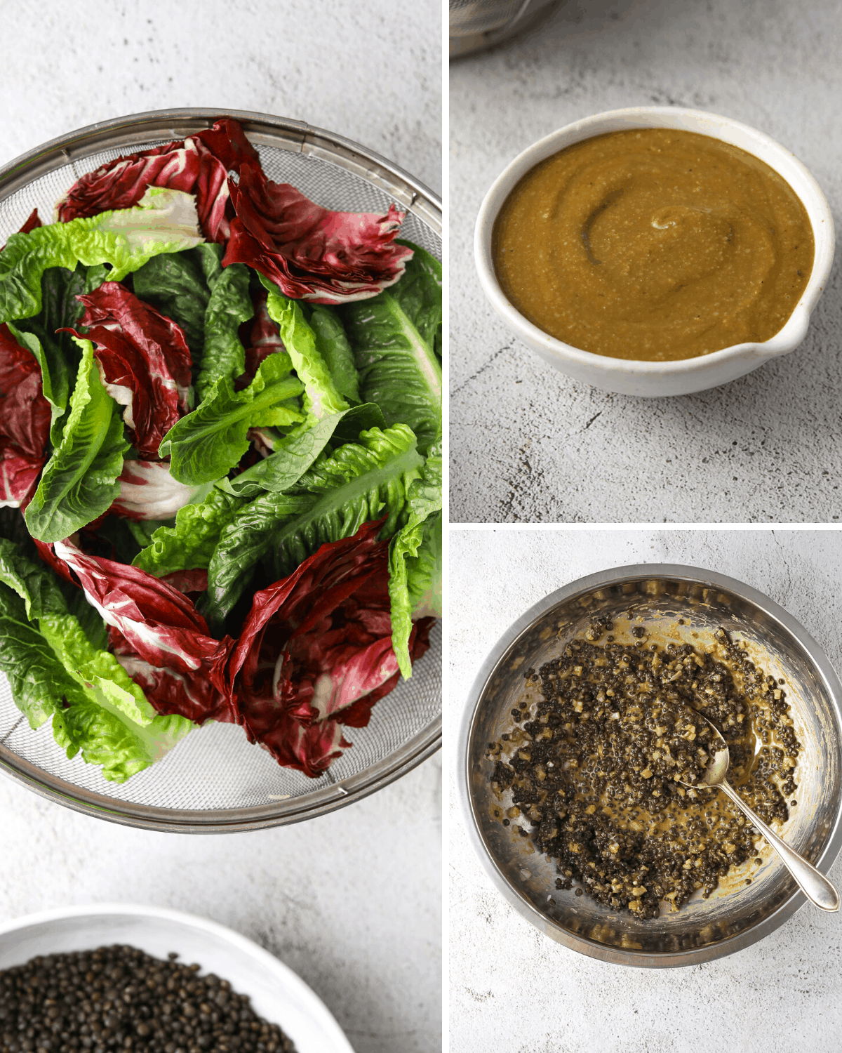 a collage of recipe steps, lettuce in a colander, a bowl of vinaigrette dressing and a bowl of lentils mixed with dressing.