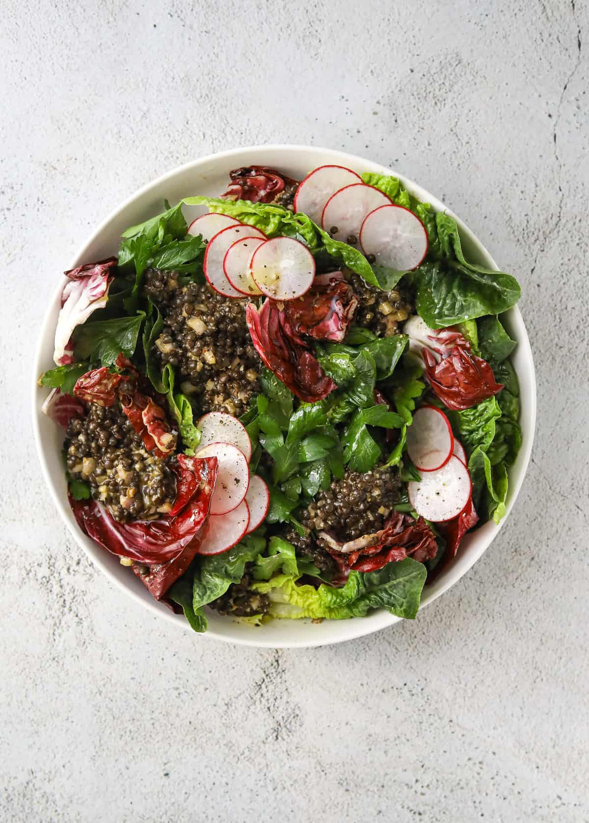 a white bowl filled with little gem salad with radicchio, sliced of radish, black beluga lentils and parsley leaves