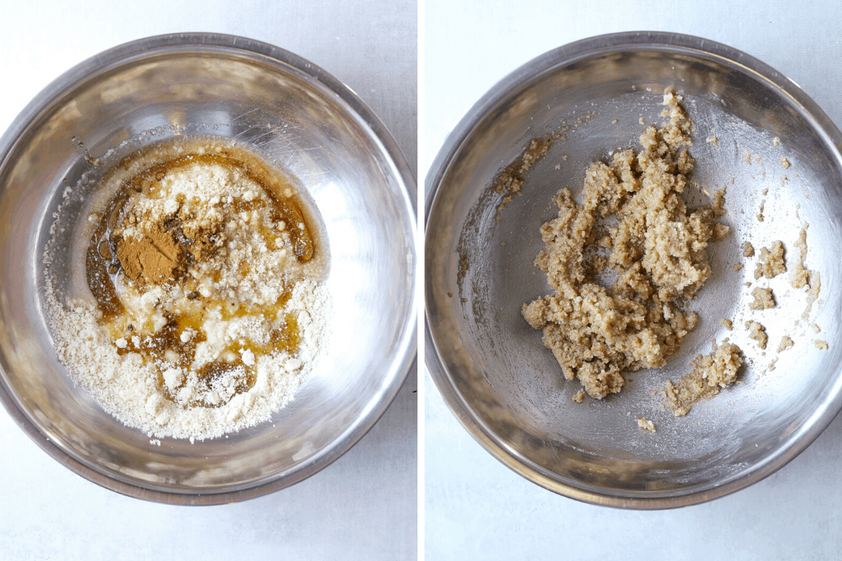 left: cinnamon streusel ingredients in a stainless steel mixing bowl. right: uncooked cinnamon streusel in a bowl.