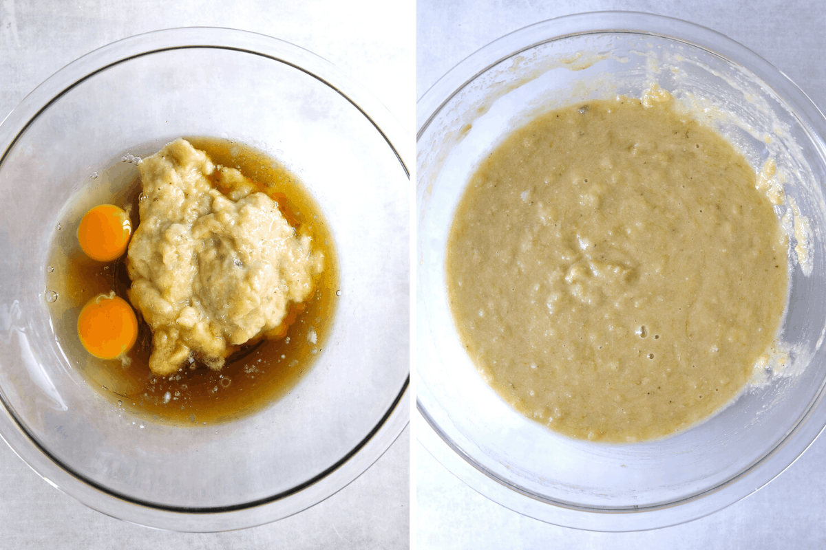 left: eggs, mashed banana and maple syrup in a mixing bowl: right: almond flour banana muffin batter in a mixing bowl.