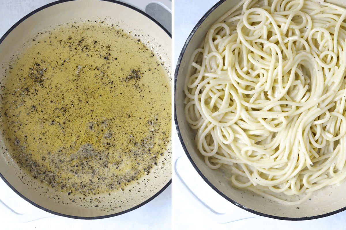a pot with butter a cracked black pepper and a pot with creamy cacio e pepe