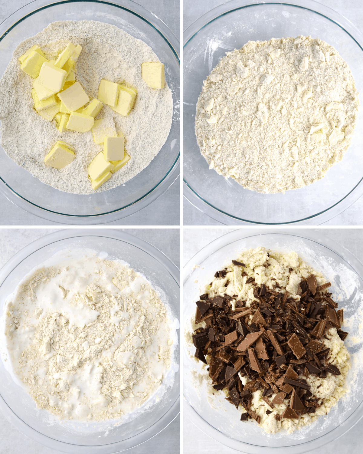 recipe step collage for chocolate scones, flour mixing in a glass bowl with butter then buttermilk and chopped chocolate