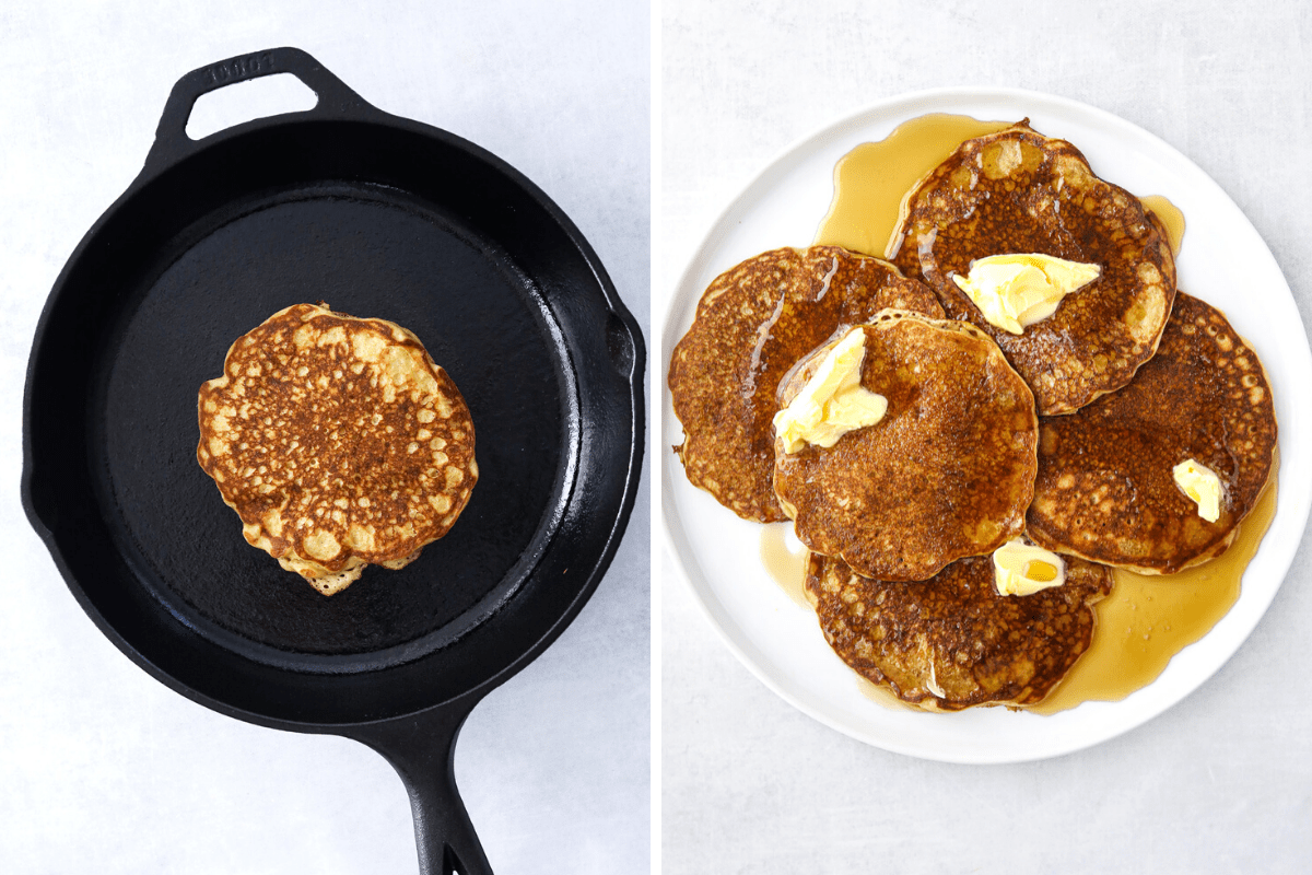 an oat flour buttermilk pancake cooking in a cast iron pan. and a white plate filled with a pile of oat flour pancakes, syrup and melted butter