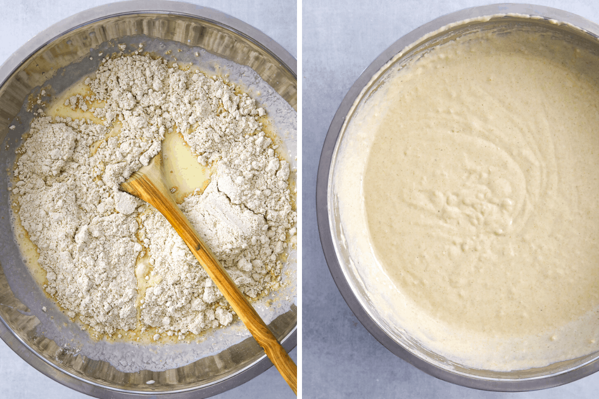 a side by side of pancake batter in a silver mixing bowl. left is unmixed ingredients, right is fully mixed.