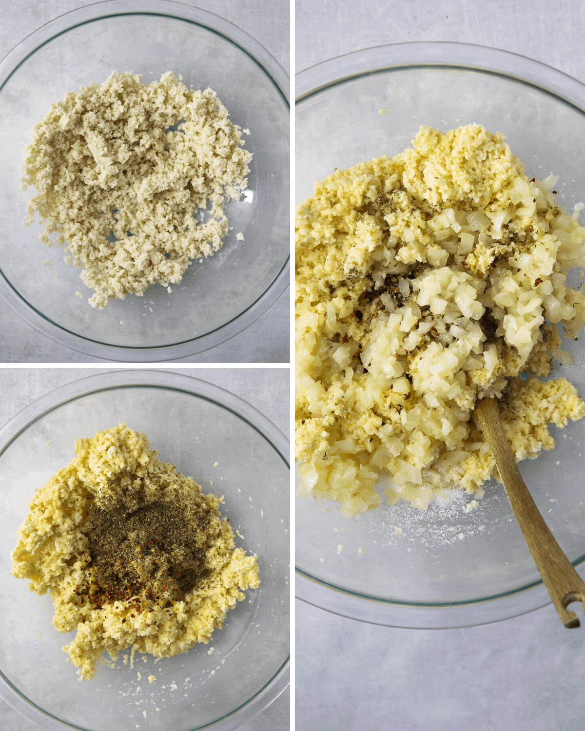 a collage of recipe steps: breadcrumb and milk binder in a glass mixing bowl