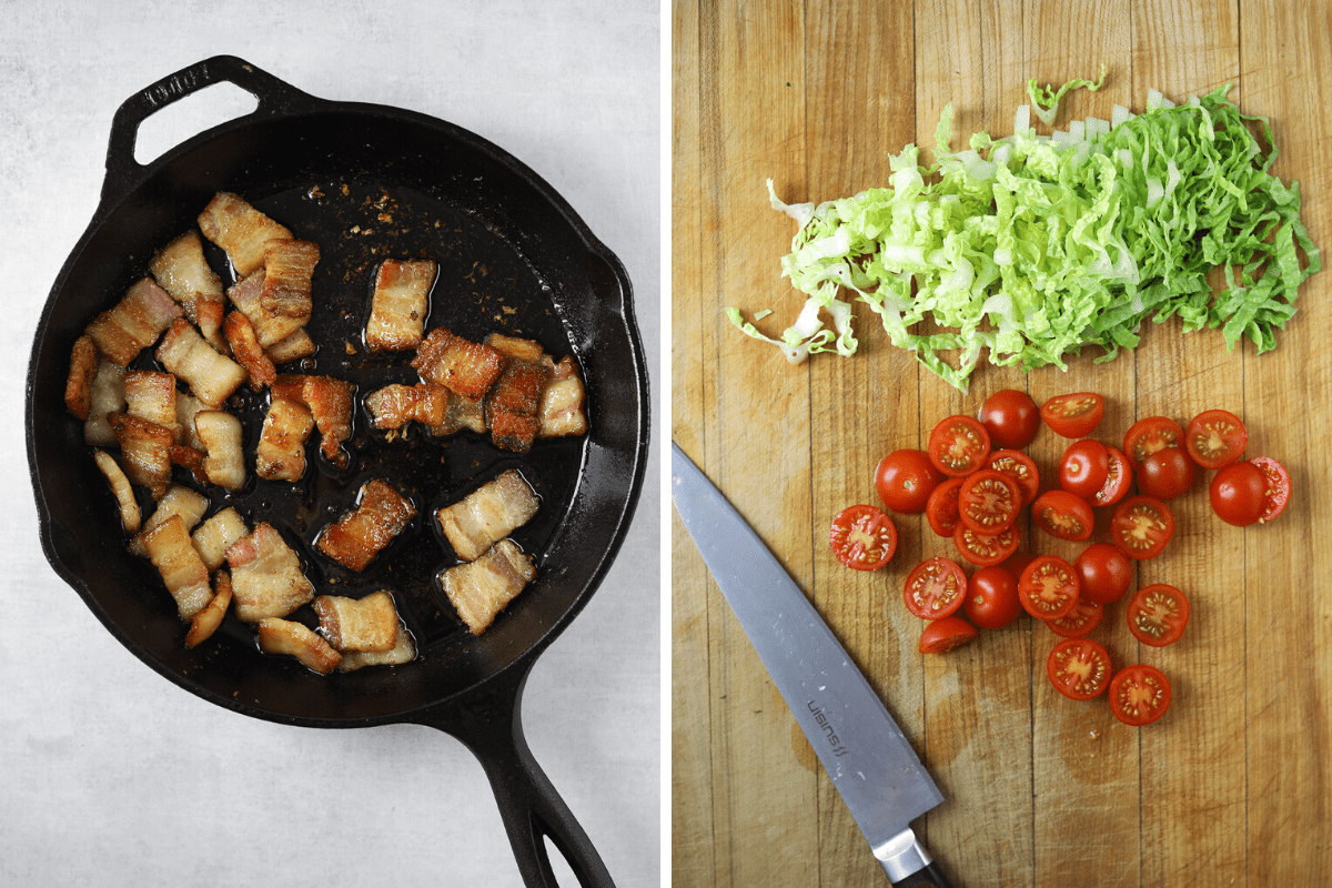 a cast iron pan with crispy bacon and a wooden cutting board with lettuce and sliced tomato