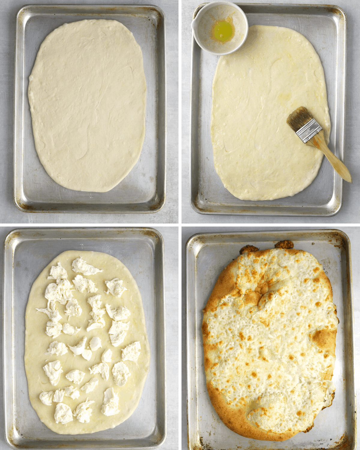 step by step pizza dough tutorial: pizza dough on a baking tray