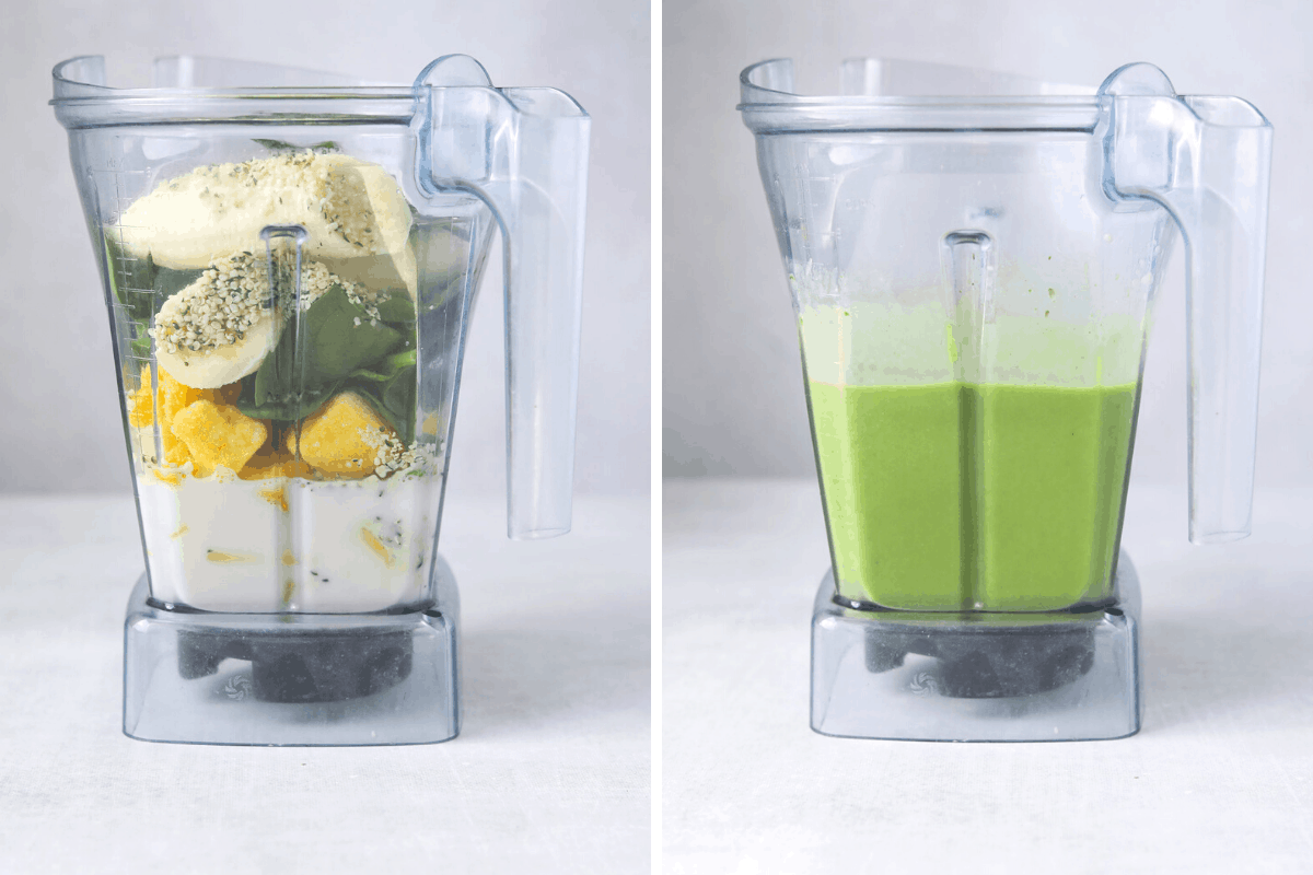 a vitamix blender filled with smoothie ingredients and another blender with a blended green smoothie