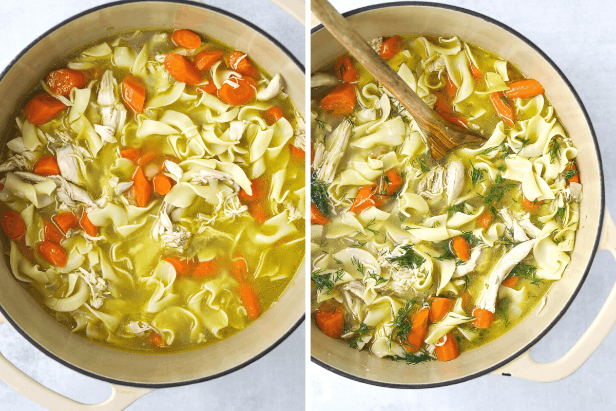 a large pot of Rotisserie Chicken Noodle Soup with a wooden spoon