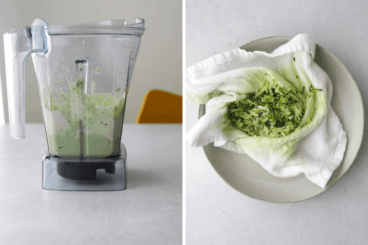 a blender with green goddess dip and a bowl with grated zucchini in a kitchen towel