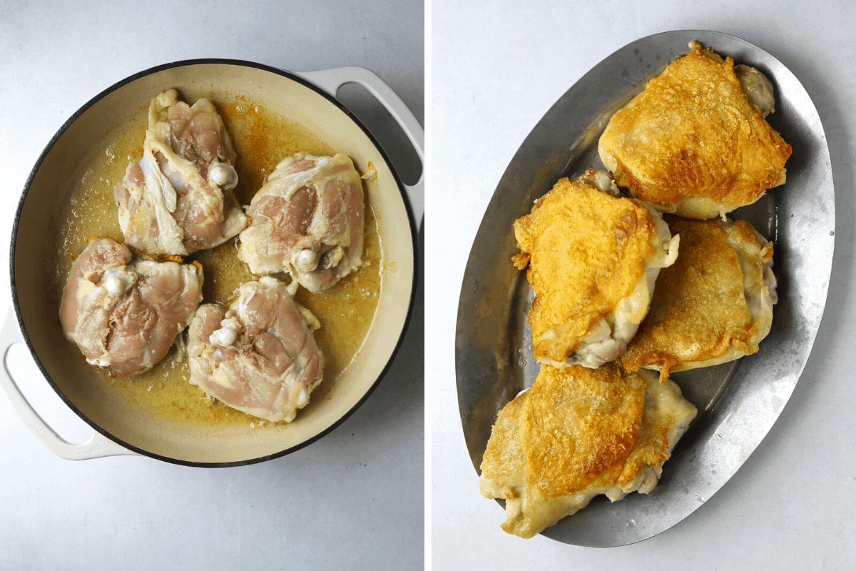 chicken thighs browning in a pan and a platter of golden-brown chicken thighs