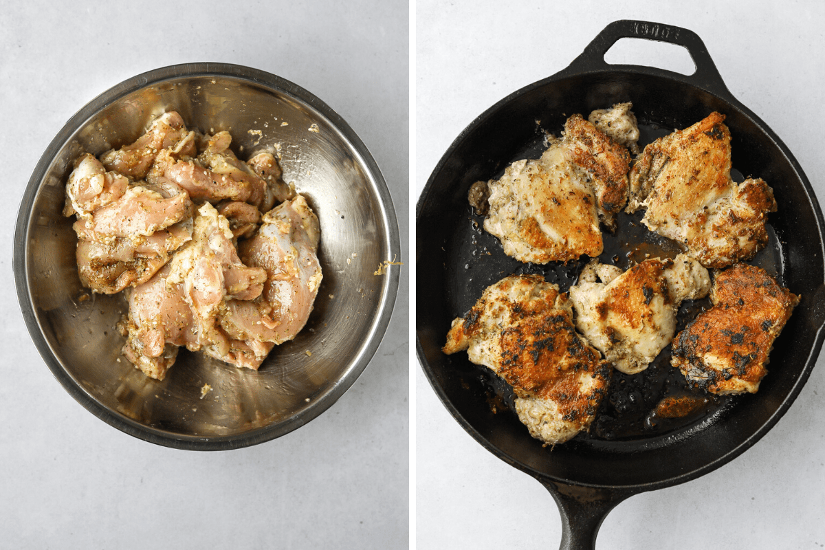chicken marinating in a mixing bowl and chicken cooking in a cast iron pan