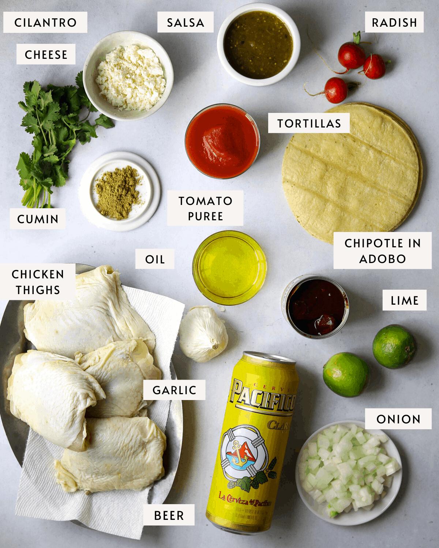 Beer-Braised Chipotle Chicken Taco ingredients, chicken thighs, limes, beer, cilantro, tortillas