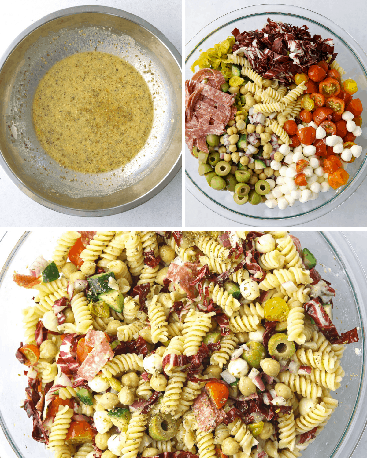 a metal mixing bowl with vinaigrette, a glass mixing bowl with Italian Pasta Salad ingredients and another bowl with Italian Pasta Salad tossed with dressing