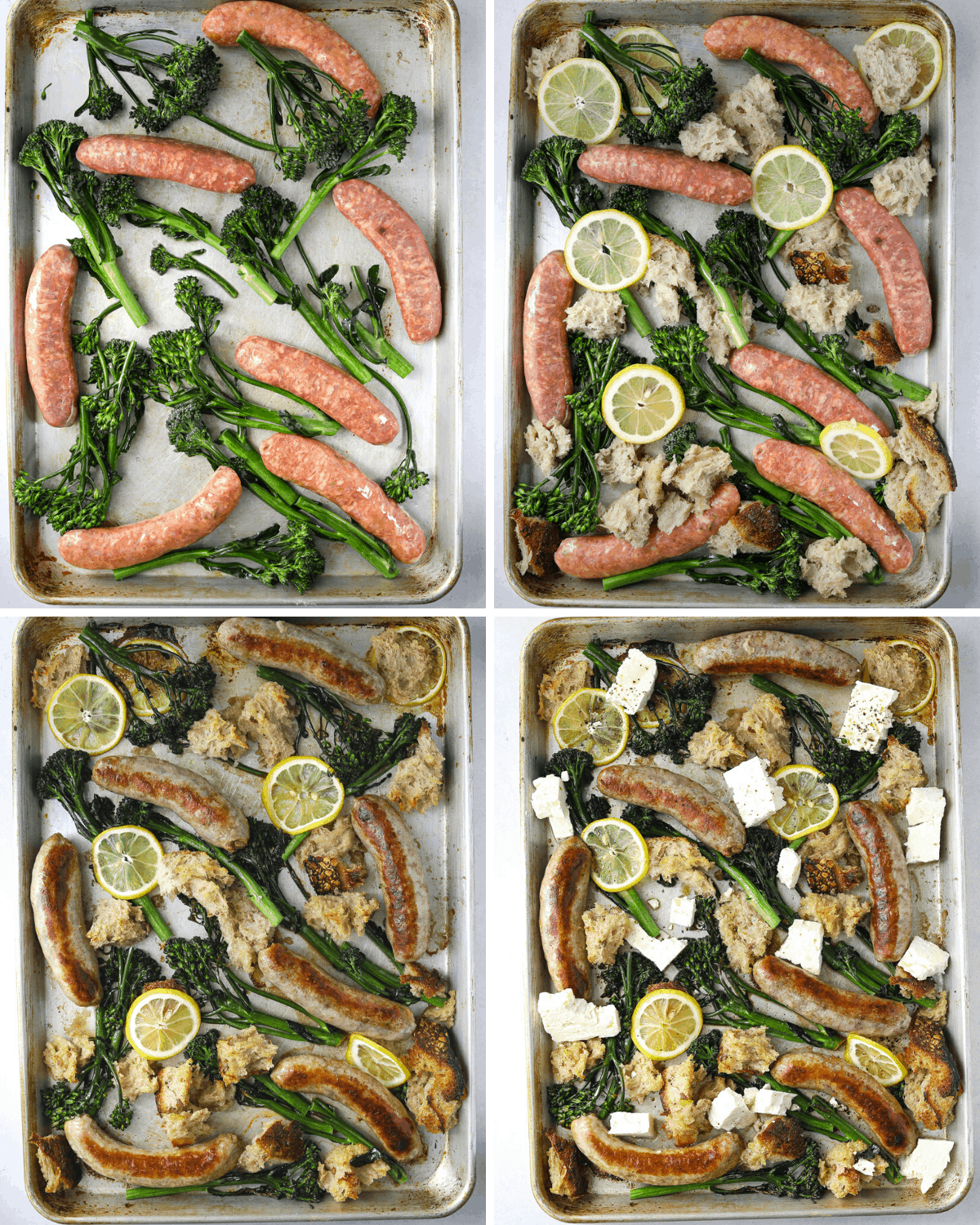 step by step photos of a sheet pan dinner with sausages, broccolini, feta and lemons