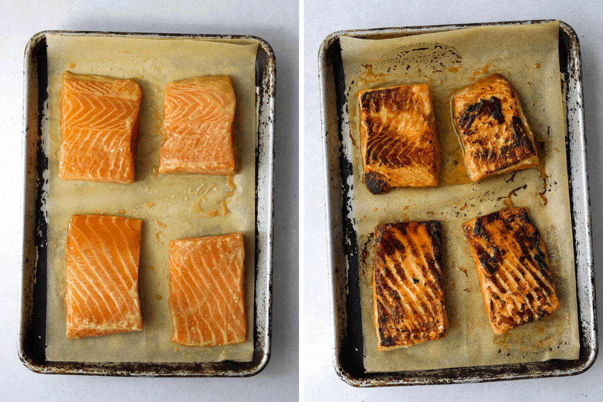 left: a sheet pan with raw miso-marinated salmon right: a sheet pan with cooked miso-marinated salmon