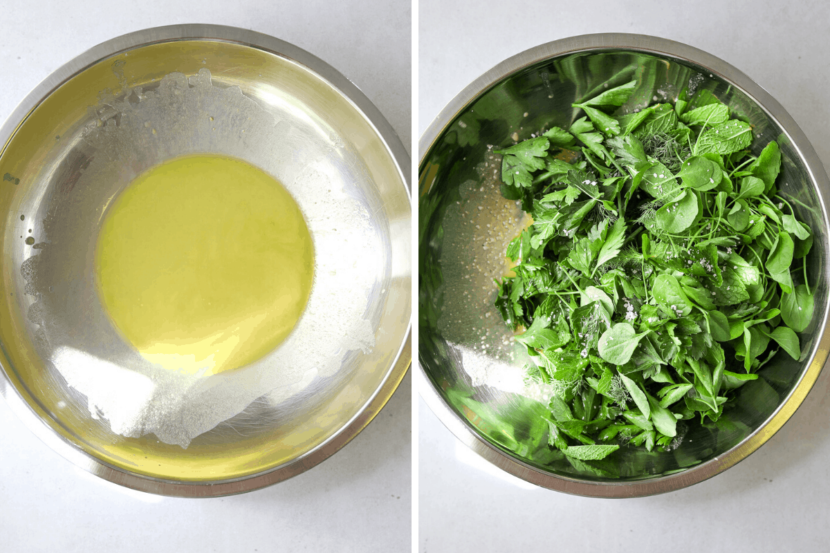 a silver mixing bowl filled with lemon vinaigrette and a mixing bowl filled with fresh herbs.